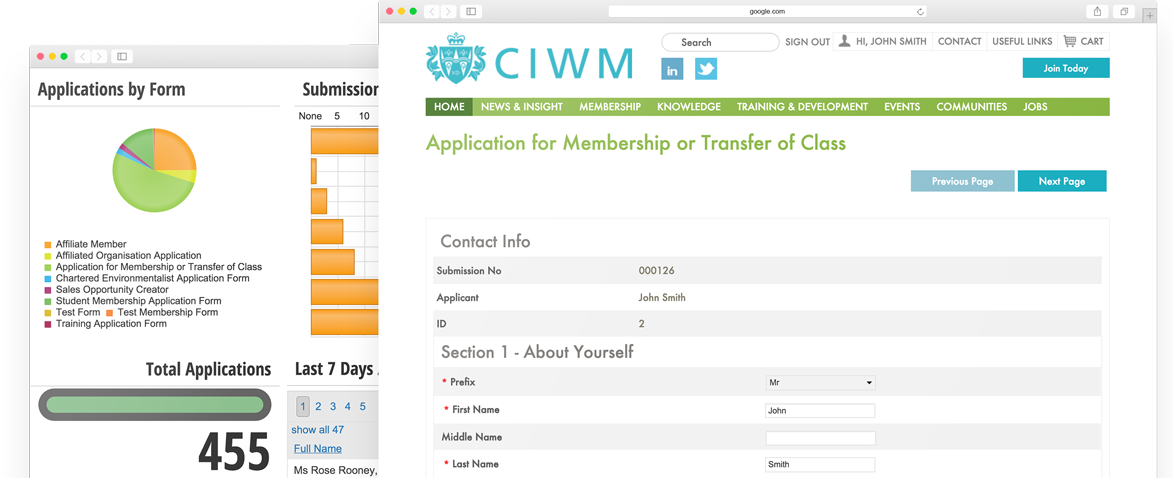 WebFormZ screenshots of membership form and staff dashboard for the Chartered Institution of Wastes Management (CIWM)